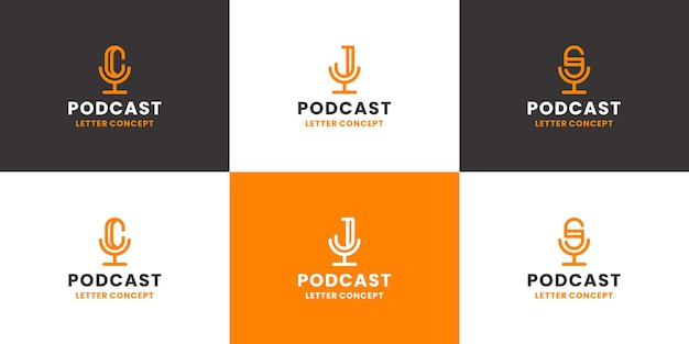 Set of podcast combine with letter c j s logo design collection