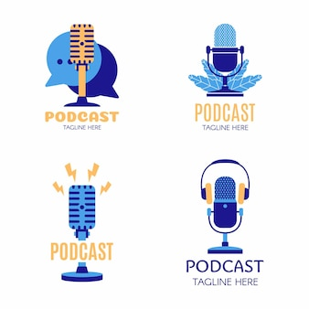 Set of podcast creative design color logo vector concept. play podcast logo template. icon symbol