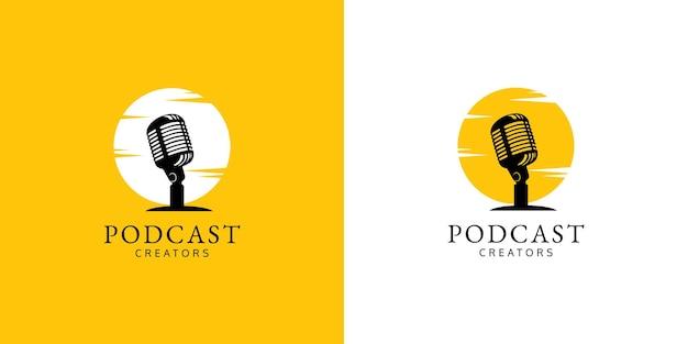 Set of podcast logo design concept