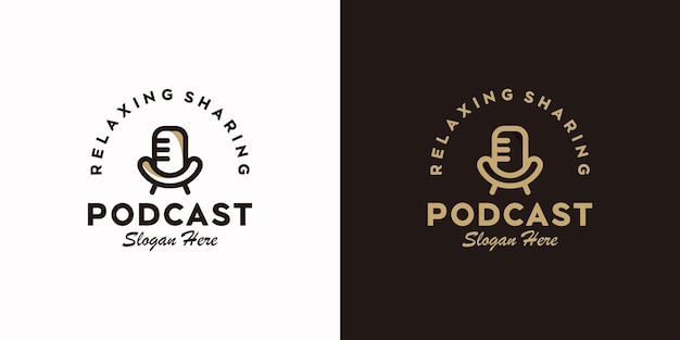 Set of podcast logo with chair and microphone concept, reference logo