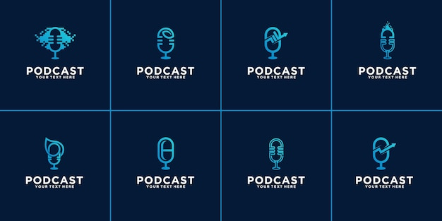 Set of podcast logos.