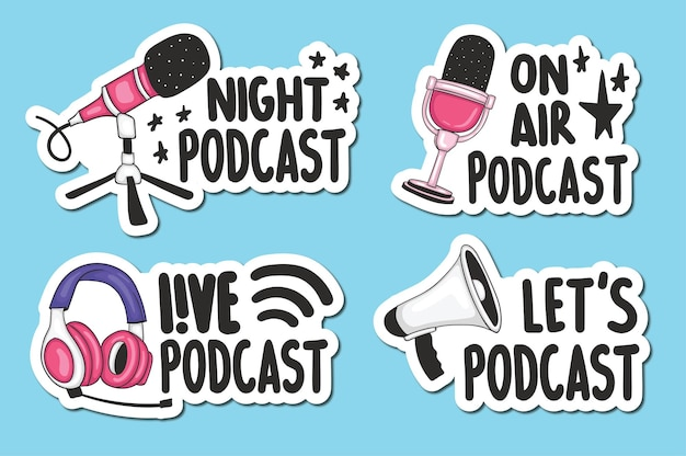 Set of podcast stickers
