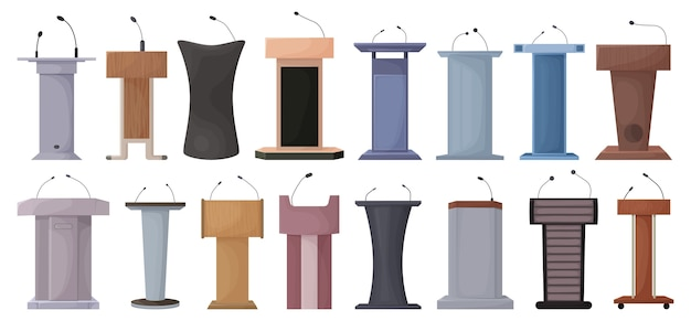 Set of podium isolated on white
