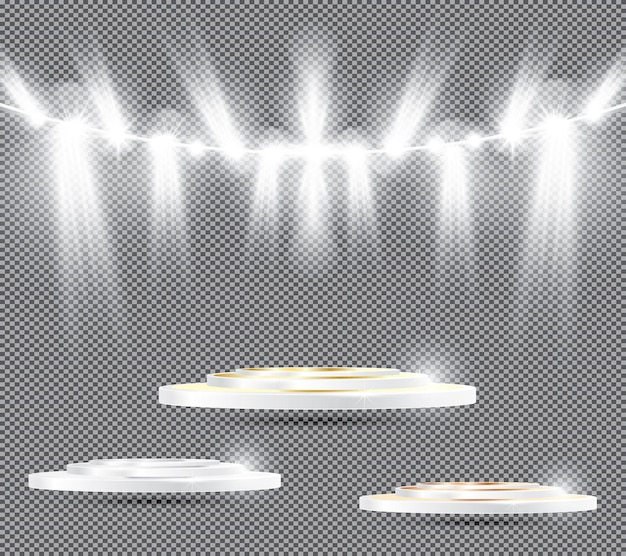Set of podium on transparent background with spotlights