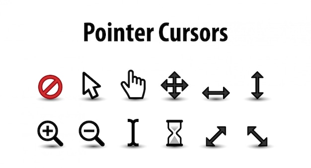 Set of pointer cursor