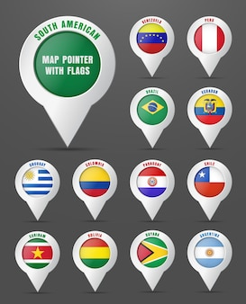 Set the pointer to the map with the flag of south american countries, and their names.