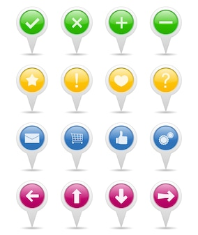 Set of pointers with icons