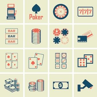 Set of poker club and gambling casino  icons