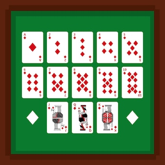 Set of poker playing cards of diamond suit on green table