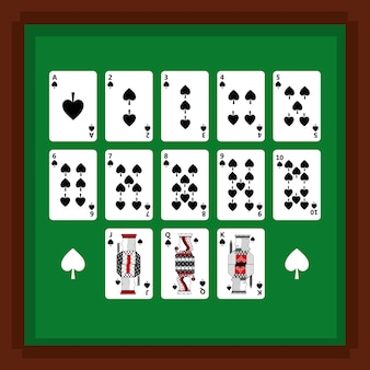 Set of poker playing cards of spade suit on green table