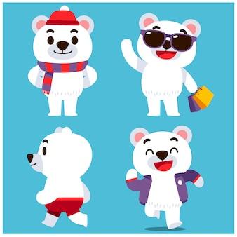 Set of polar bear characters