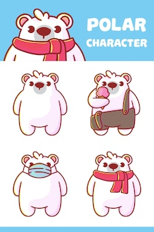 Set of polar character with optional apprearance. premium kawaii