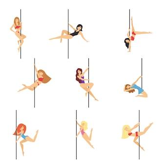 Set of pole dancers  on white background