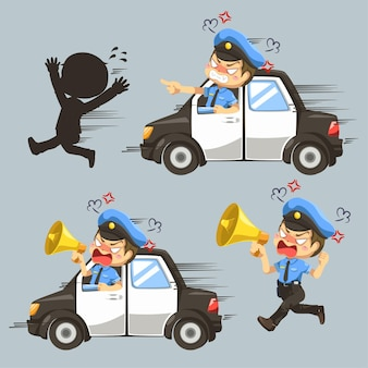Set of police drive a car to catch a thief in cartoon character, isolated flat illustration