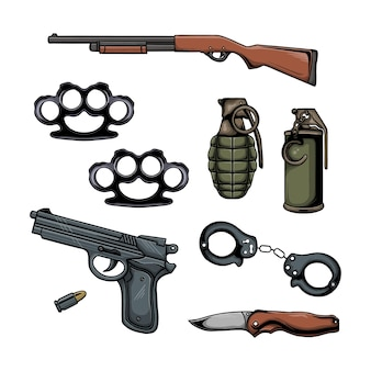 Set of police elements vector illustration