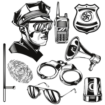 Set of police elements Free Vector