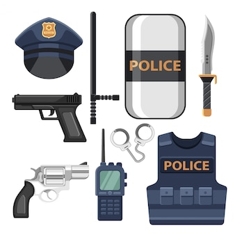 Set of police equipment icons and elements
