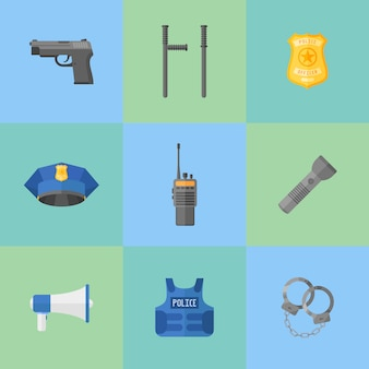 Set of police equipment, weapons flat style icons.