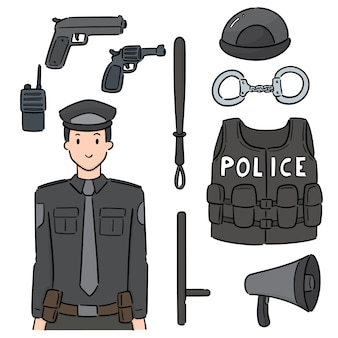 Set of police and equipment