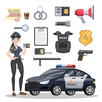 Set of police officer equipment. beautiful policeman and car. badge and gun, handcuffs and ammunition. isolated flat vector illustration