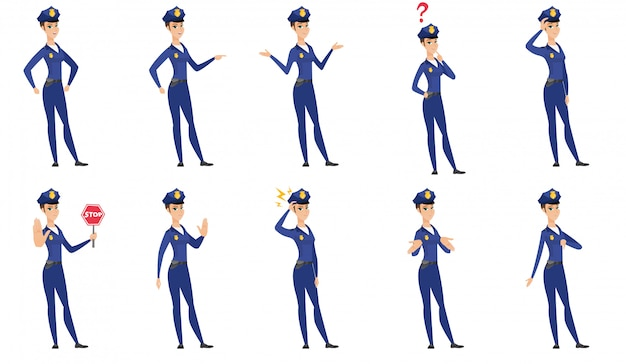 Set of police woman characters.