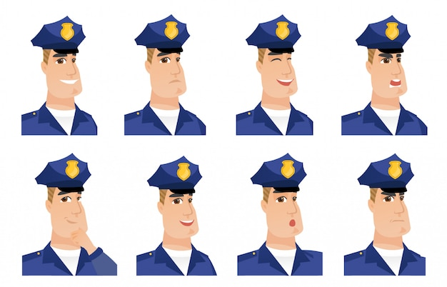 Set of policeman characters.