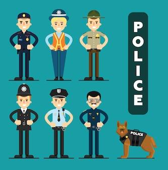 Set of policeman characters
