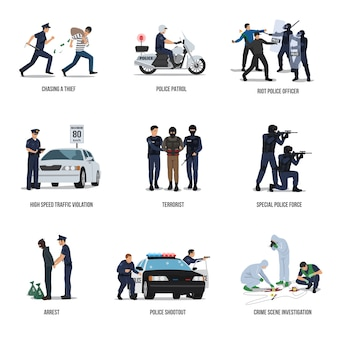 Set of policeman. policeman at work concept