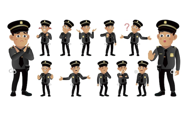 Set of policeman with different emotion
