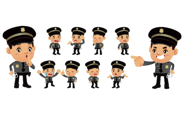 Set of policeman with different emotions
