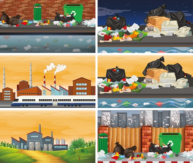 Set of polluted scenes or background