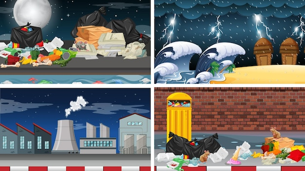 Set of polluted scenes