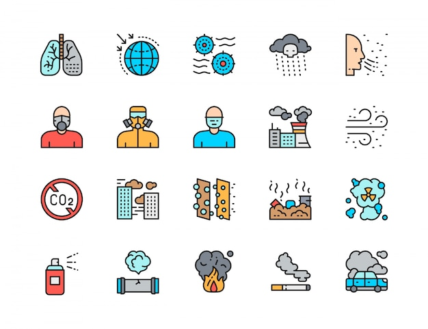 Set of pollution flat color line icons. air dust, respiratory system, protective mask