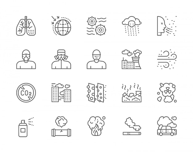Set of pollution line icons.