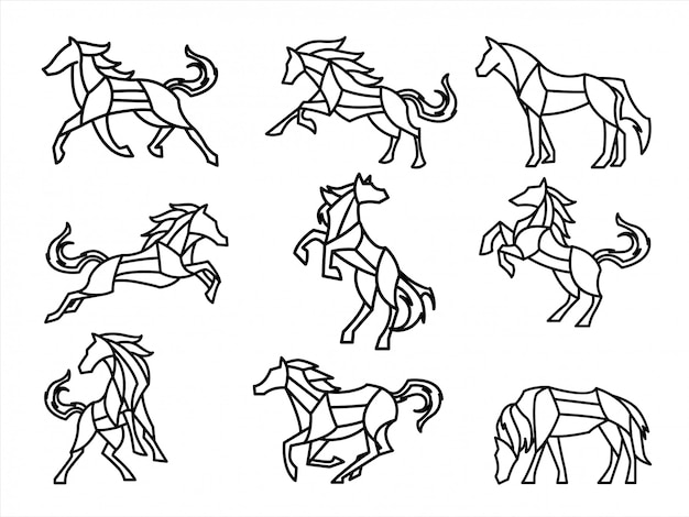 Set of polygon horse