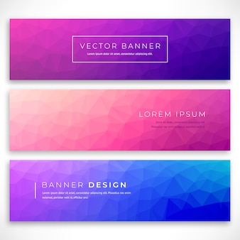 Set polygonal background for site, brochure, banner and covers. minimal gradient low poly covers design. low polygon  illustration Premium Vector