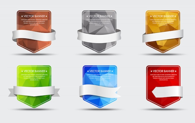 Set of polygonal banners with ribbon
