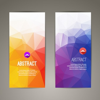 Set of polygonal triangular colorful geometric banners