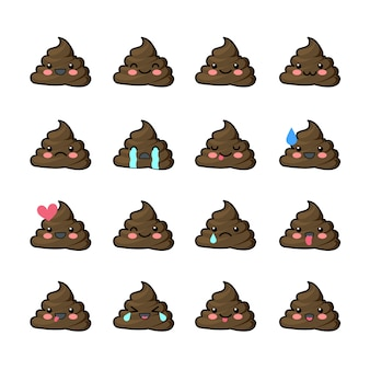 Set of poop emojis with different expressions