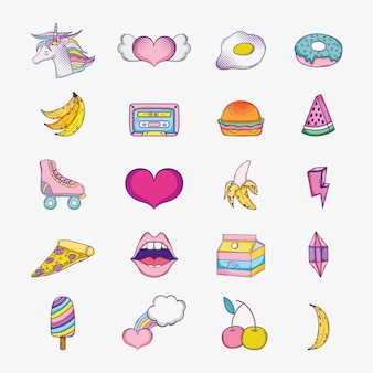 Set of pop art cartoons icons