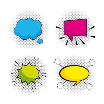 Set pop art chat bubbles messages