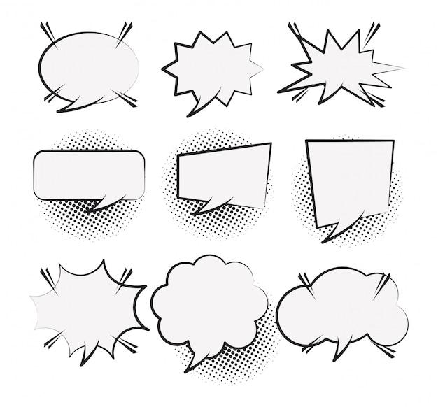 Set of pop art comic speech bubbles