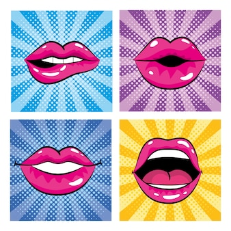 Set pop art mouth with teeth and tongue