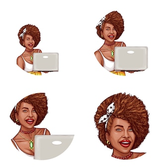 Set of pop art round avatar icon for users of social networking, blogs, profile icons
