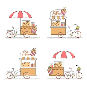 Set of pop corn bicycles. various carts on wheels in flat line art.