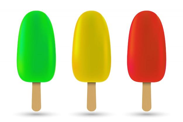 Set of popsicle ice cream isolated