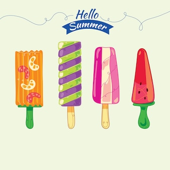 Set of popsicles with fruits