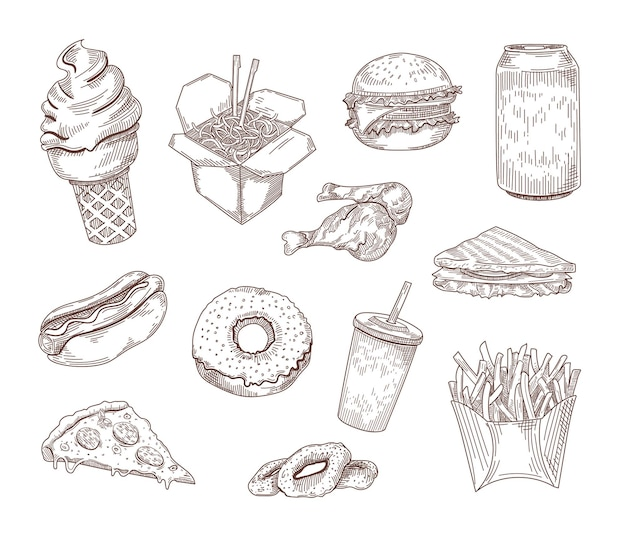 Set of popular american dishes hand drawn illustration