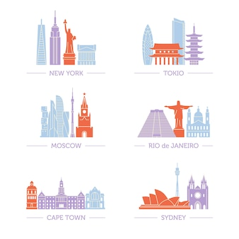 Set of popular architecture on all continents