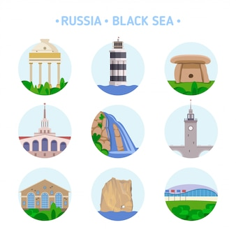 Set of popular architecture and natural sights on the russian black sea coast